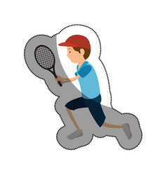 Man athlete practicing tennis avatar character vector