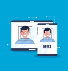 man face scan biometric digital technology vector image