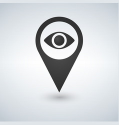 map pointer with eye icon iolated on white vector image