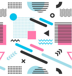 Memphis seamless pattern with blue pink and black vector