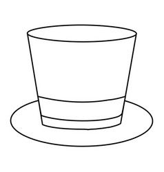 Monochrome contour of top hat with ribbon in vector