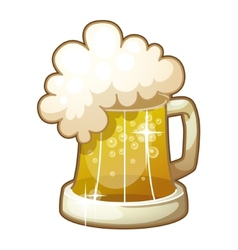 Mug of beer with foam isolated on white background vector image