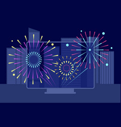 new year city firework online festival downtown vector image