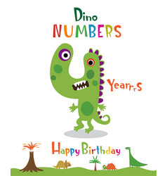number 4 in the form of a dinosaur vector image