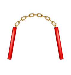 Nunchaku connected by golden chain vector