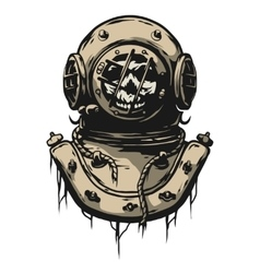 Old iron diving helmet vector