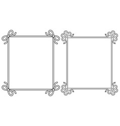 Ornamental frames with vintage decor bows elements vector