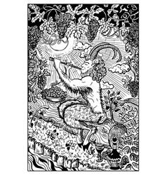 Pan satyr engraved fantasy vector