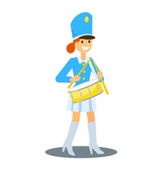 Parade girl drummer icon flat style vector