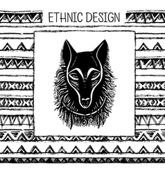 Pattern with wolf face black and white colors vector