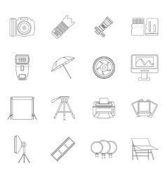 Photo studio icons set outline style vector image