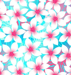 Pink and aqua Plumeria and Hibiscus floral vector