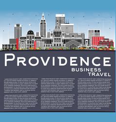 Providence rhode island city skyline with color vector