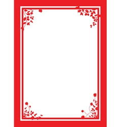 Red floral corners background vector