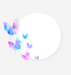 Round background with beautiful watercolored vector
