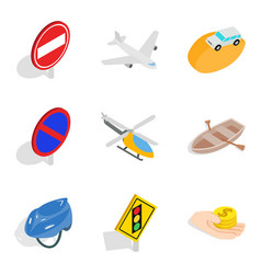 Route road icons set isometric style vector
