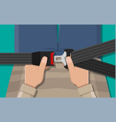 Safety belt in hand vector