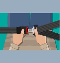 Safety belt in hand vector