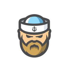 Sailor man in a cap cartoon icon vector