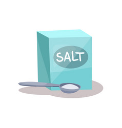 Salt in a craft paper bag and spoon baking vector