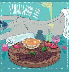 Sandalwood oil used for body massage vector