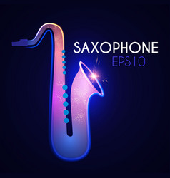 saxophone shining music instrument with light vector image