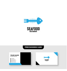 Seafood logo design and business card template vector
