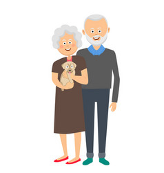 senior couple standing with a puppy dog vector image
