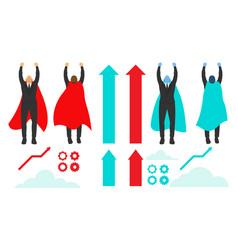 set businessman superhero actions different vector image