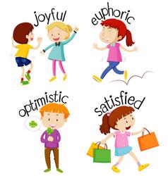Set children doing activities with adjectives vector