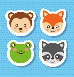 set cute face animals wildlife fauna vector image
