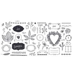 set floral decor hand drawn doodle vector image