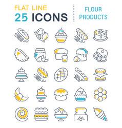 set line icons flour products vector image