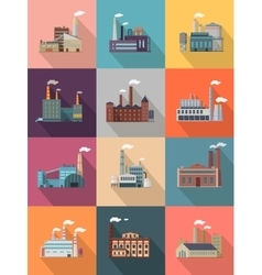 Set of Building Plant or Industrial Factory vector image