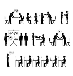 Set of business people silhouettes in meetings vector