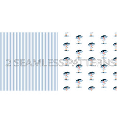 Set of two seamless patterns in blue color vector