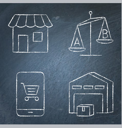 shopping and product choice icon set on chalkboard vector image