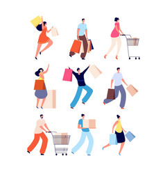 shopping people female with shop bags sale offer vector image