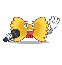 Singing farfalle pasta mascot cartoon vector