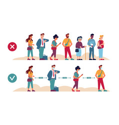social distance queue rules right and wrong line vector image