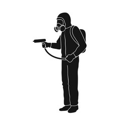 Staff in overalls single icon in black style for vector