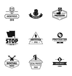 Stop way logo set simple style vector