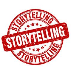 Storytelling red grunge stamp vector