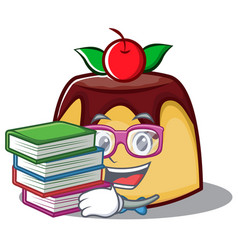 Student with book pudding character cartoon style vector