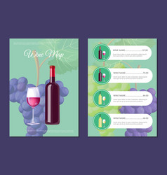 Stylish wine map cover and page with prices set vector