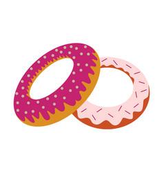 Sweet dessert in flat design donuts vector
