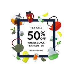 tea drinking frame cartoon kettles vector image