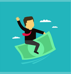 the businessman on money flies in the sky vector image