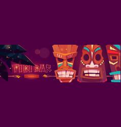 tiki bar cartoon web banner with tribal masks vector image