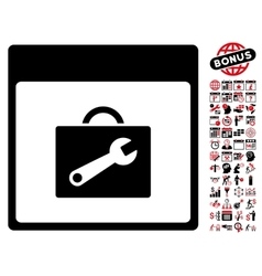 Toolbox Calendar Page Flat Icon With Bonus vector image